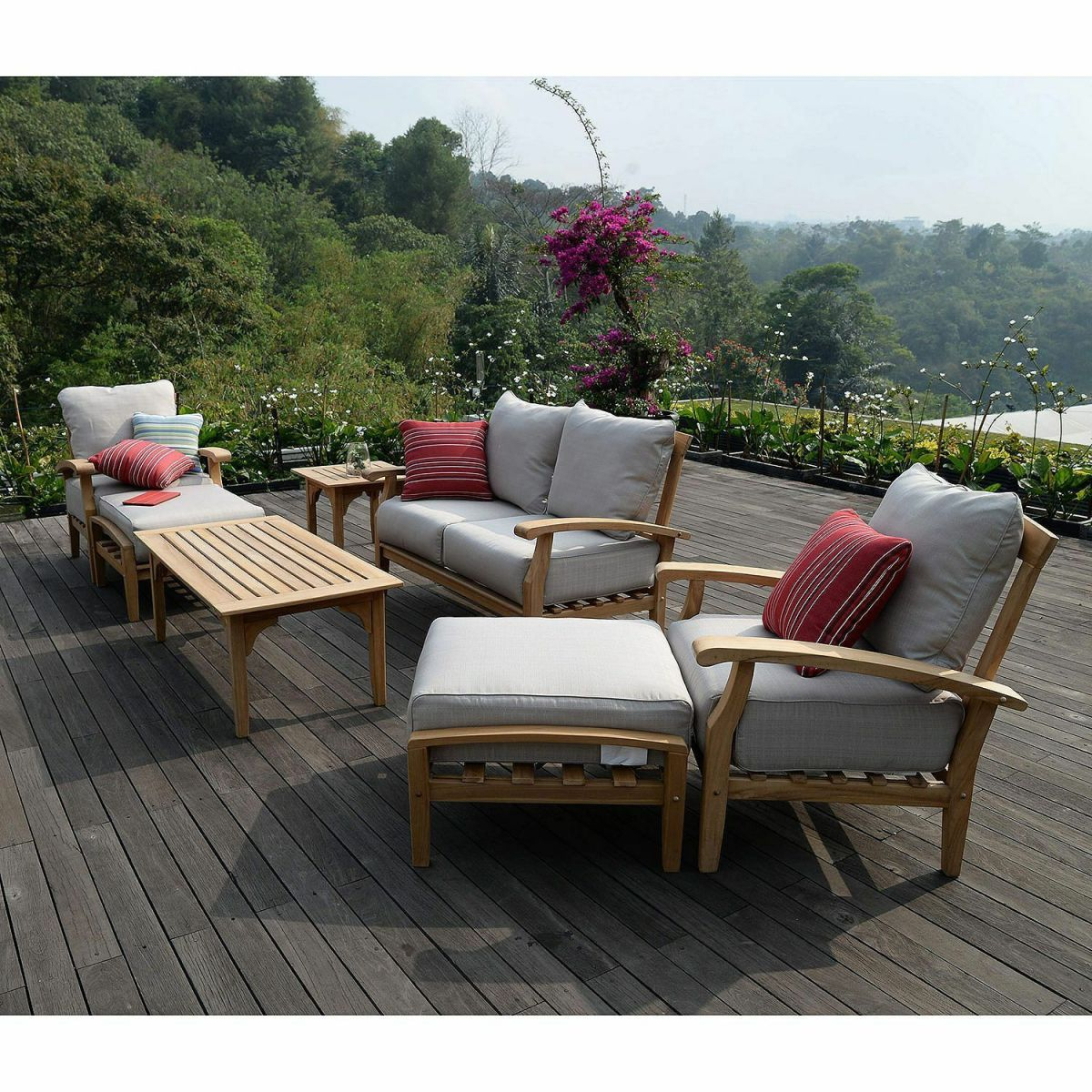 Teak Patio Furniture Outdoor 7 Pc Set Seating Beige Cushions Weather  Resistant for Teak Outdoor Furniture Set