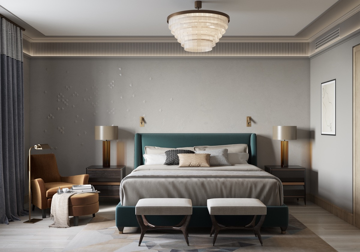 teal-and-amber-color-theme-in-transitional-bedroom-design-with-vintage-style