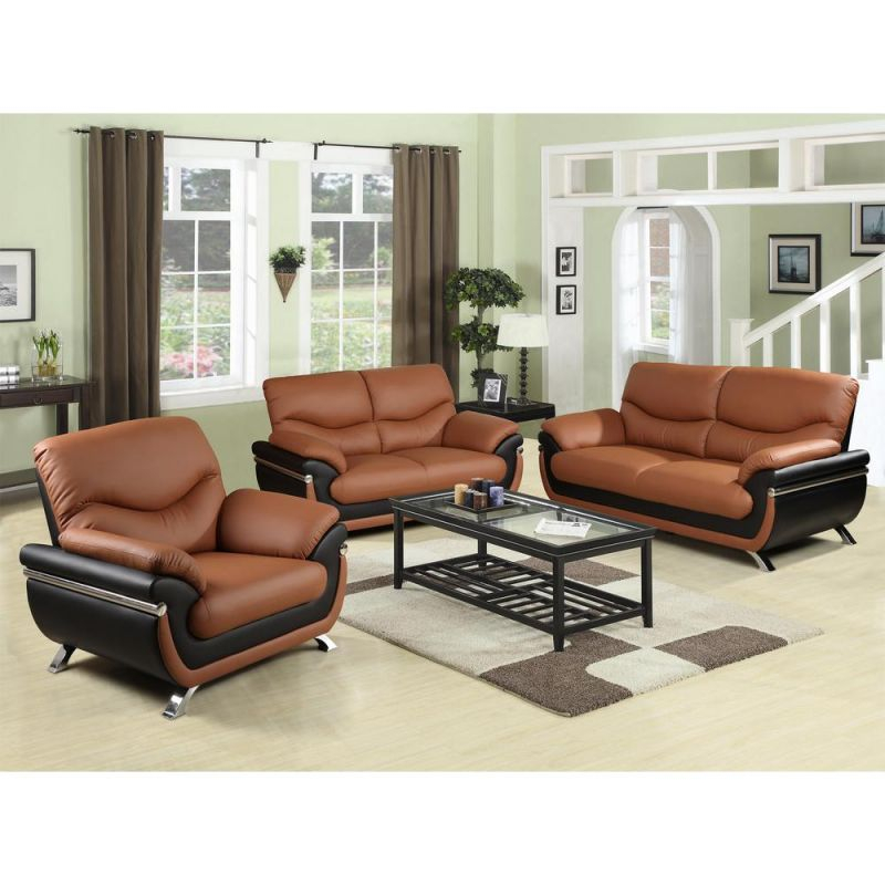 Two-Tone Red And Black Leather Three Piece Sofa Set regarding Awesome Leather Living Room Sets