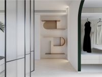 unique-modern-shelves-in-hallway-with-arched-doors
