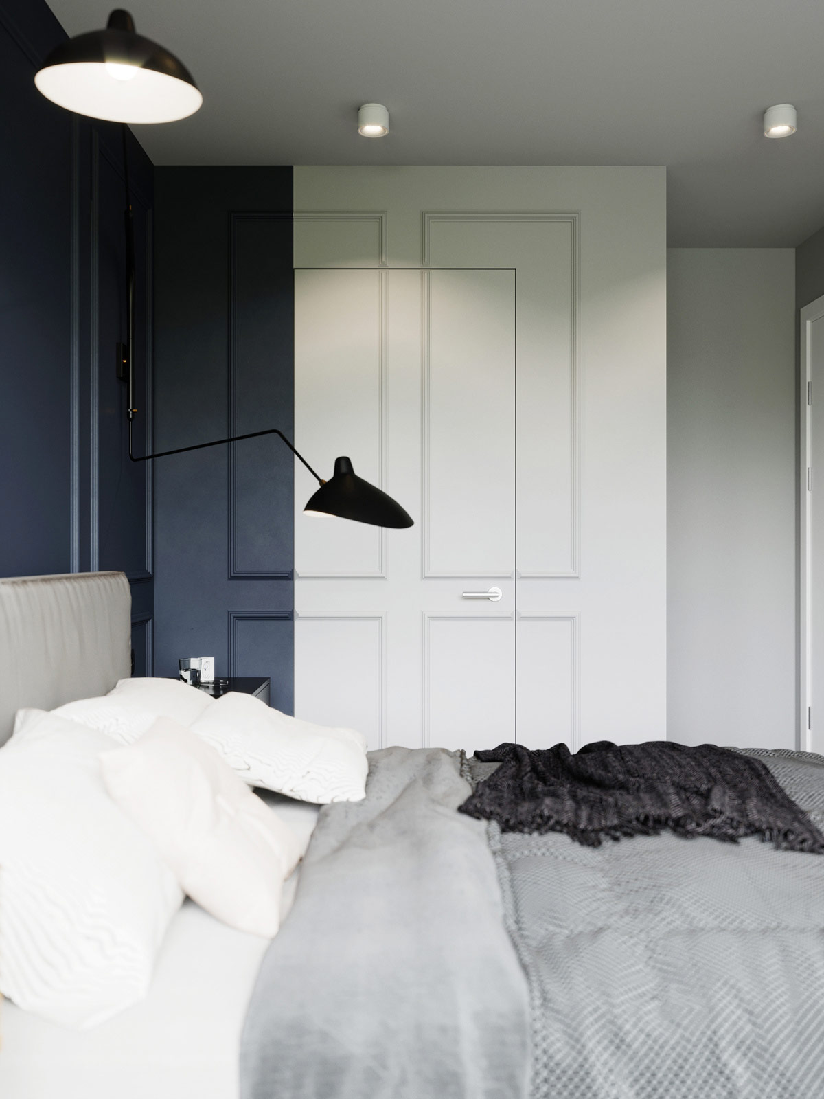 unique-paneled-bedroom-wall-multicolor-closet-door-layout