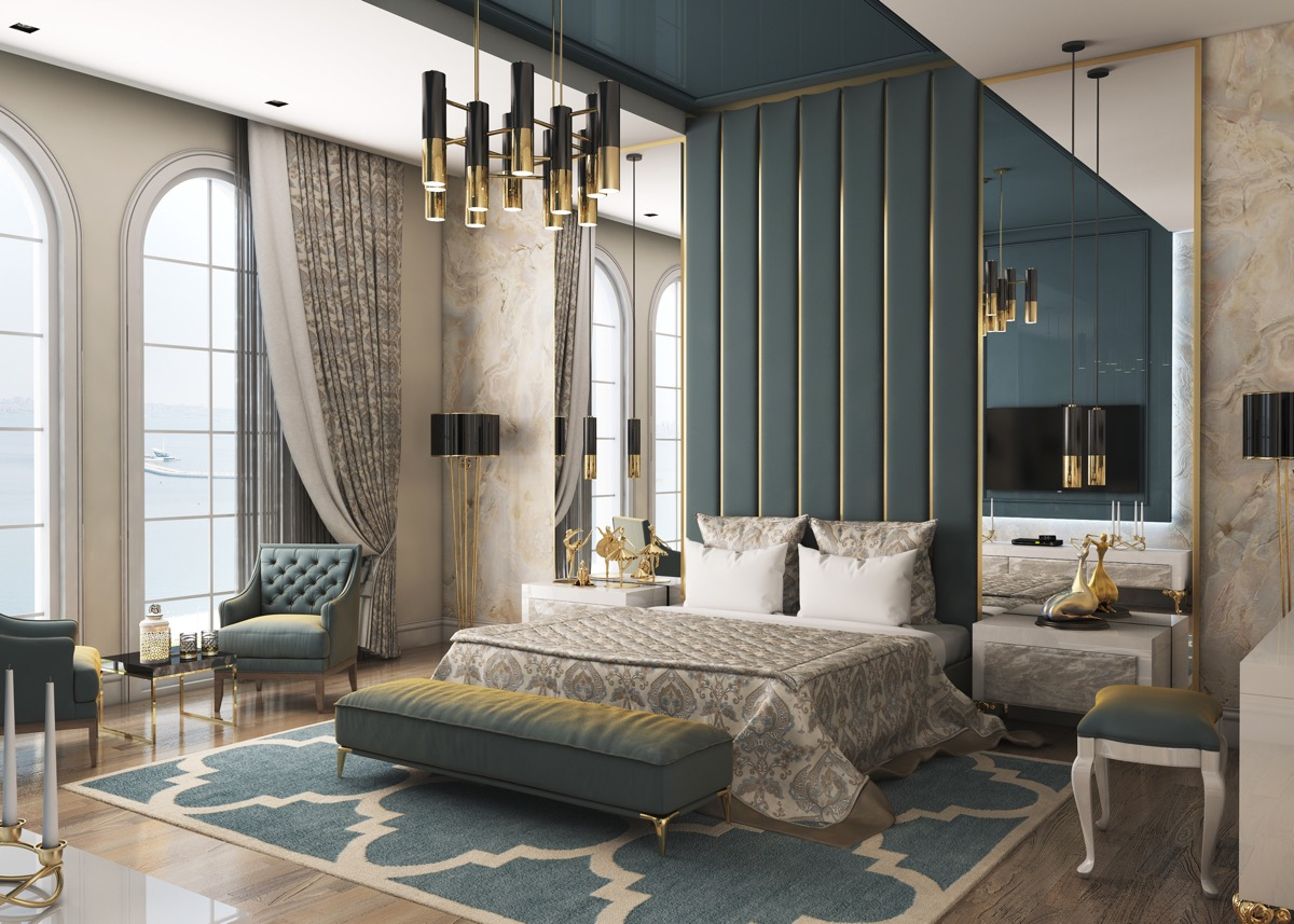 unique-teal-and-gold-color-palette-for-transitional-style-bedroom-designs