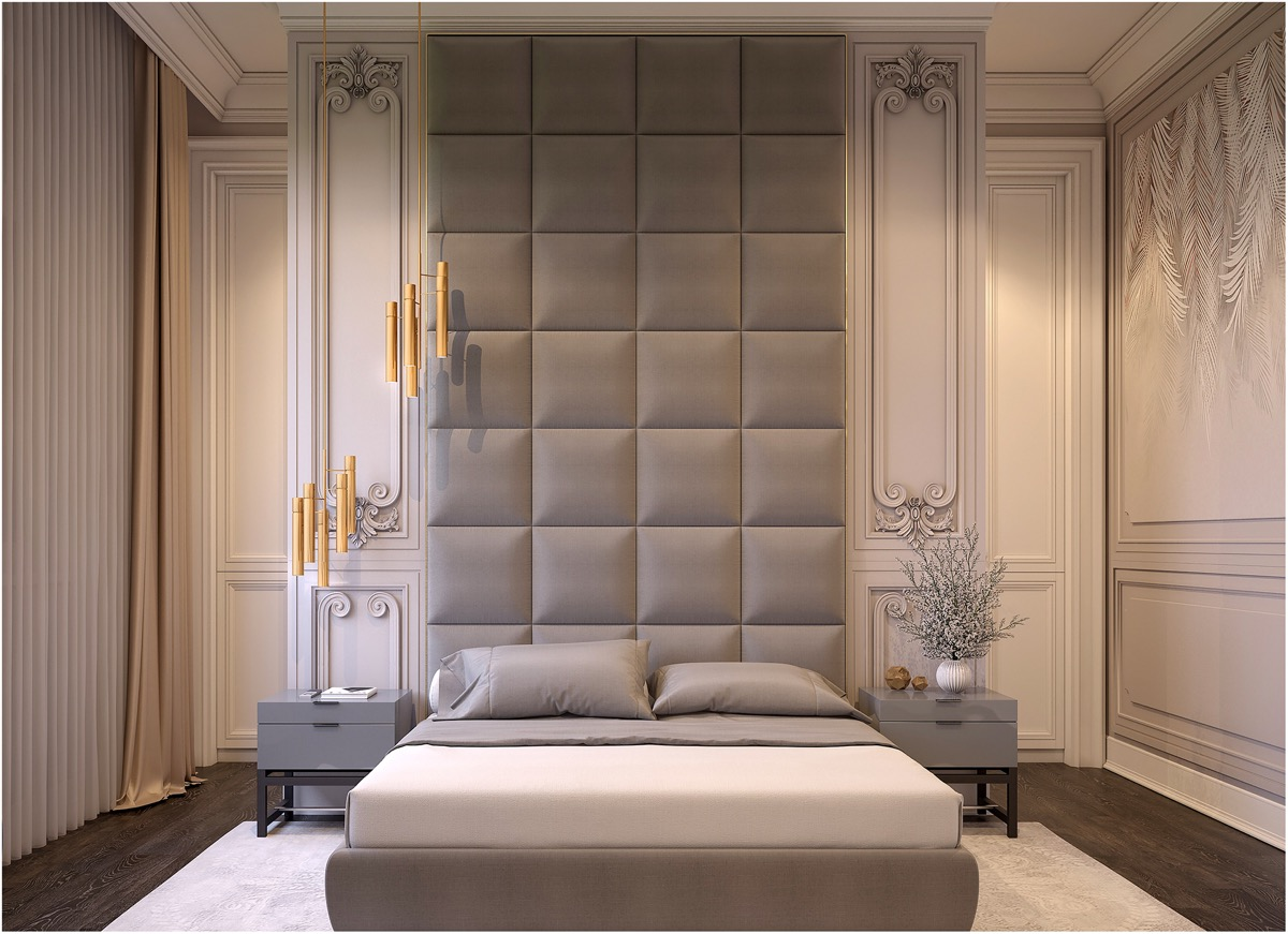 unique-wall-treatment-ideas-for-transitional-bedroom-with-gold-accents