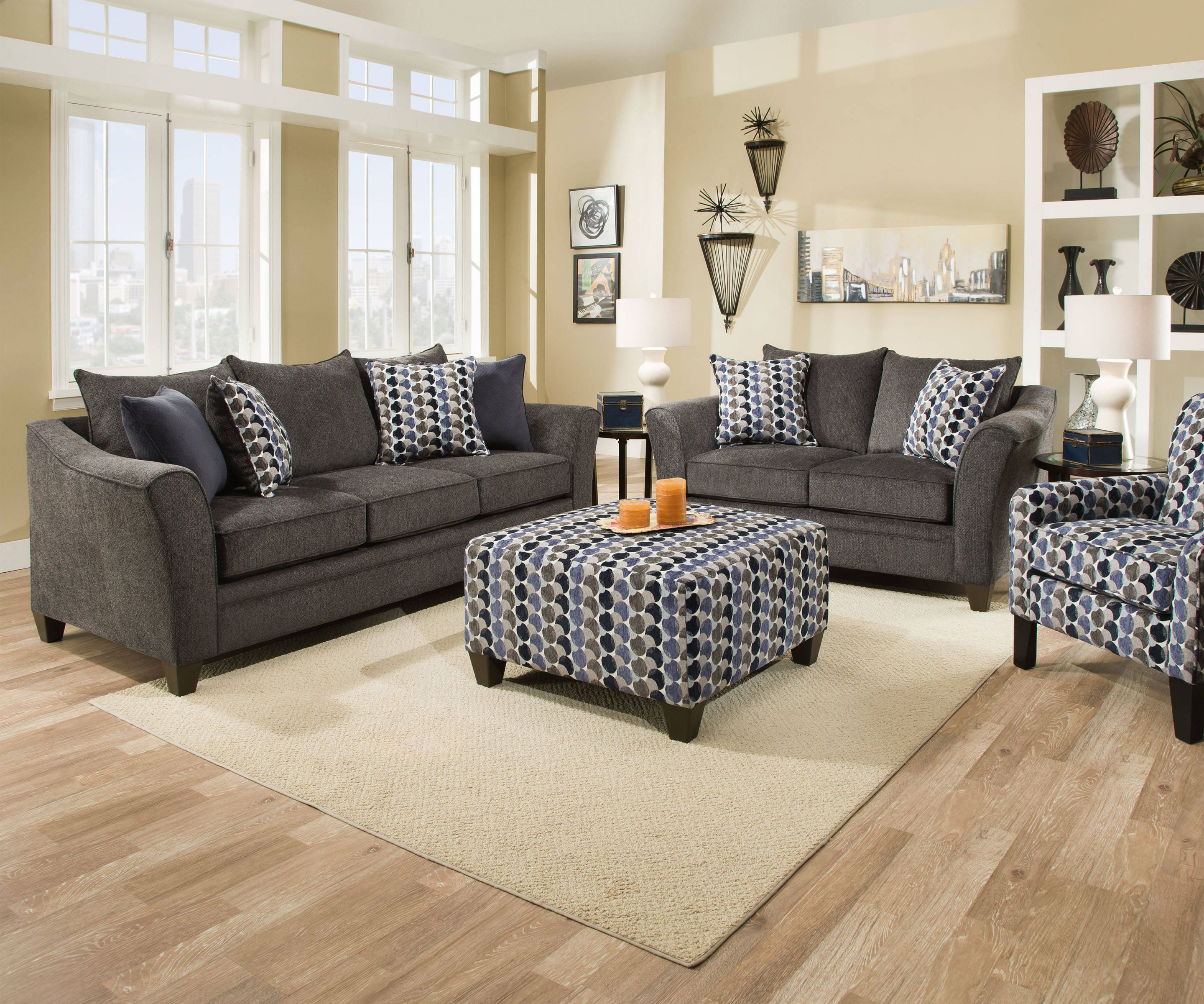 United Furniture Albany Slate 3Pc Living Room Set With Accent Chair in Living Room Sets