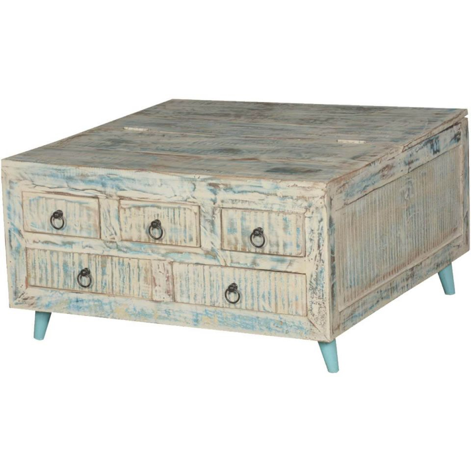Vernon White Washed Reclaimed Wood Square Coffee Table 5 Drawer Chest with Elegant Square Coffee Table With Storage