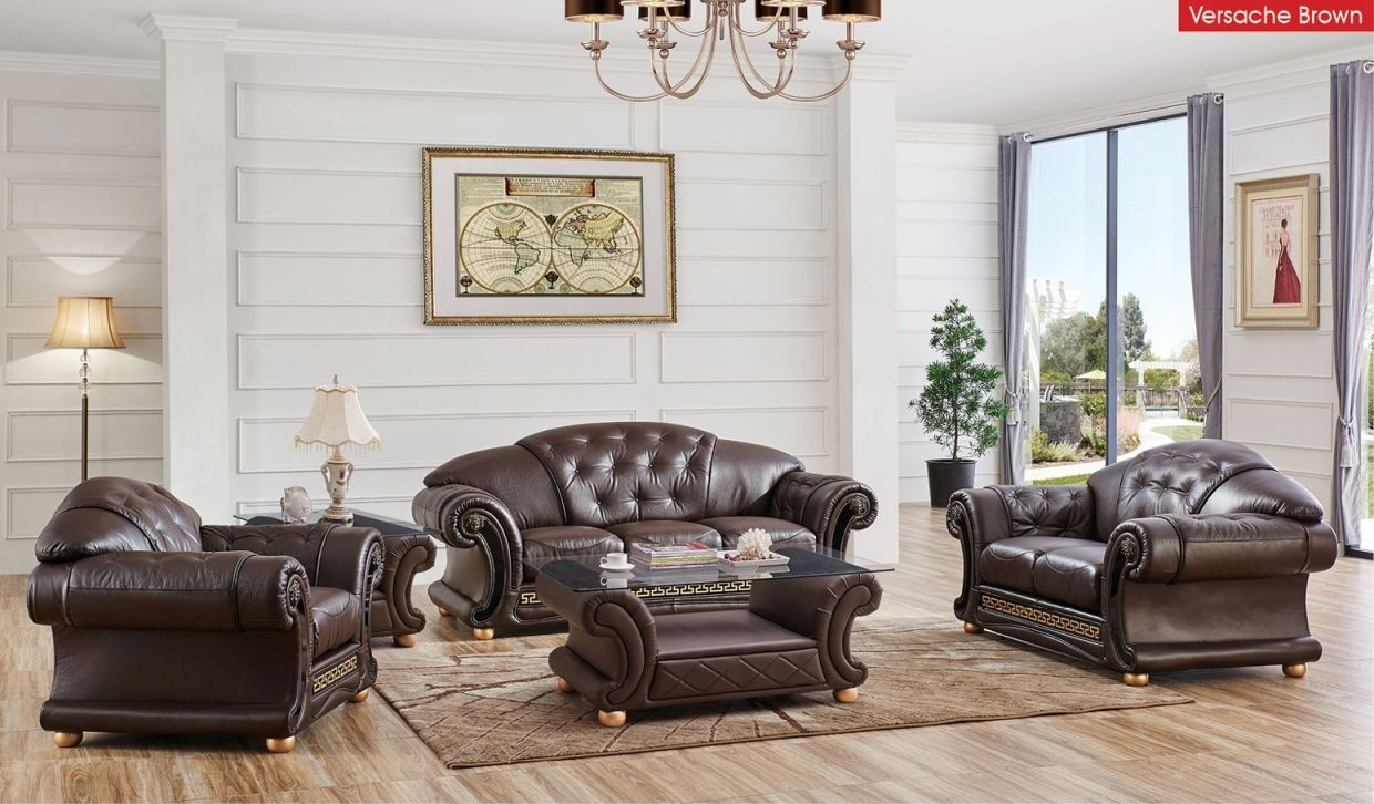 Versace Living Room Set In Brown Italian Leather within Leather Living Room Sets