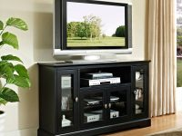 "Walker Edison Highboy-Style Wood Media Storage Tv Stand Console For Tvs Up To 55"" – Black regarding Furniture Tv Stands"