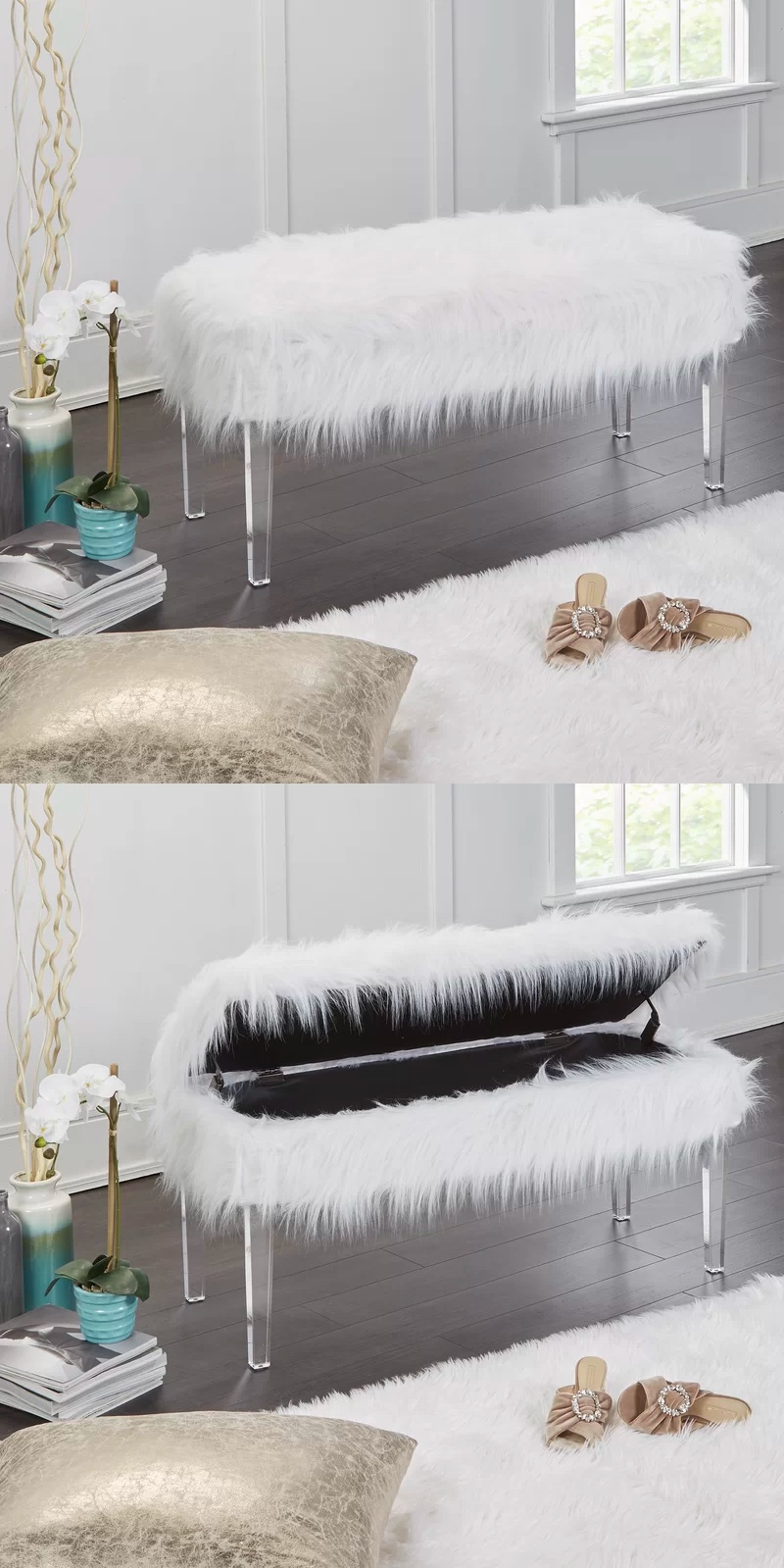 white-faux-fur-storage-bench-with-transparent-acrylic-legs