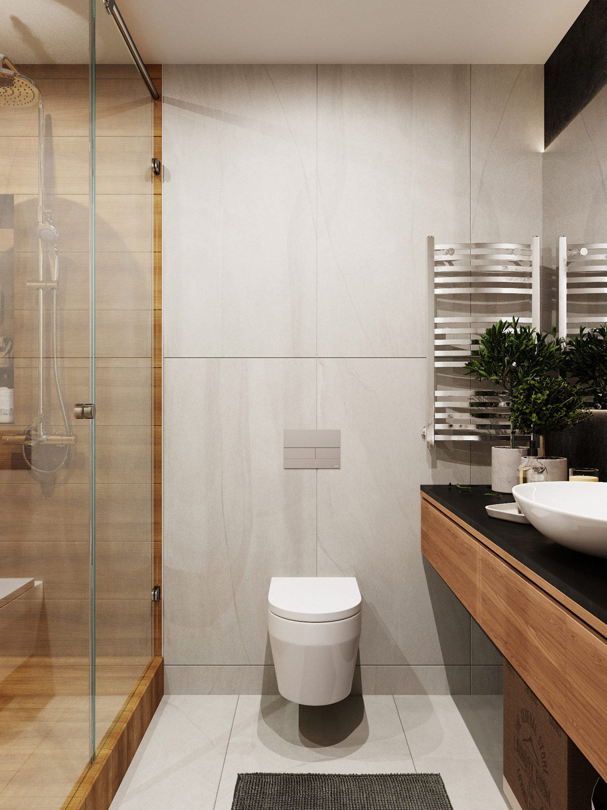 wood-shower-and-stone-clad-modern-bathroom-wall-treatments