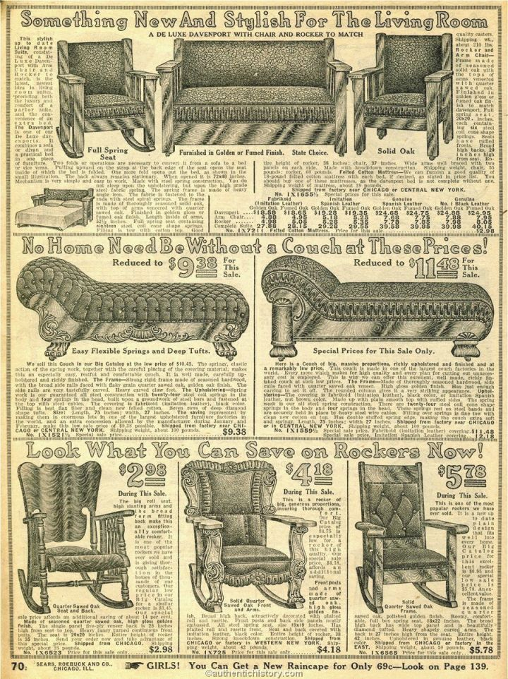 1914 Sears Household Catalog Fancy Living Room Furniture regarding Sears Living Room Furniture