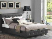 3 Piece Bedroom Set Queen Size Furniture Black Leather Bed 2 Nightstands Tables inside Bedroom Set Queen Size
