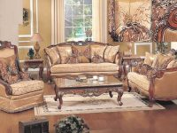 3Pc Sofa Traditional Living Room Furniture Olive Copper Fabric Cherry Gold Trim inside Traditional Living Room Furniture