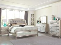 4Pc Bedroom Furniture Glamorous Set Classic Metallic Finish Tufted Hb Queen Size Bed W Dresser Mirror Nightstand with regard to Bedroom Set Queen Size