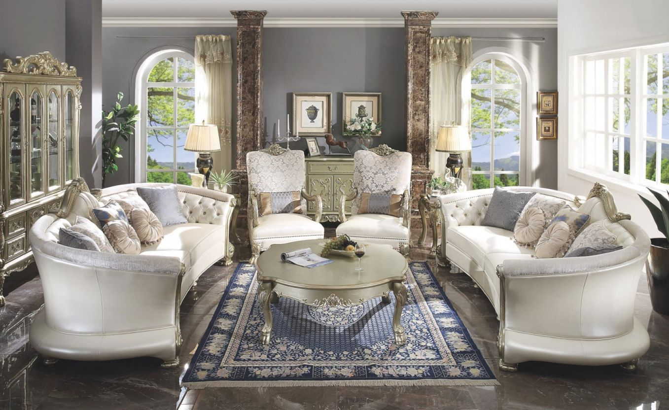54875 Bone Pu / Gold Patina Finish Living Room Acme Dresden Ii Collection for Floral Living Room Furniture