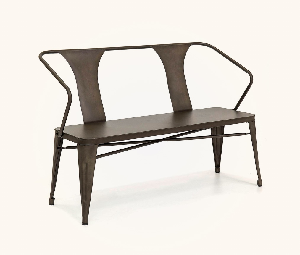 All-Metal-Industrial-Dining-Bench-With-Back-Bronze-Dark-Brown-Metallic-Finish