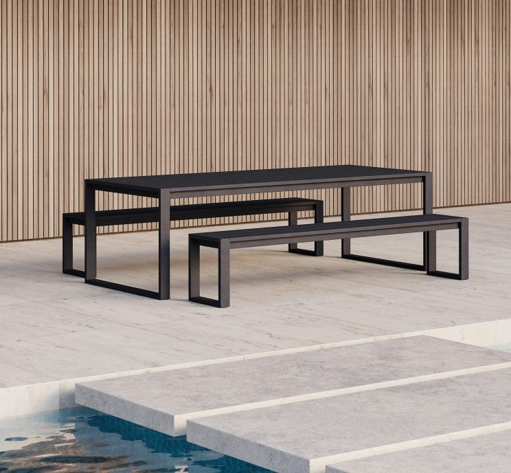 Black-Aluminum-Outdoor-Dining-Bench-Minimalist-Matthew-Hilton
