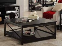 Black-Rustic-Coffee-Table-With-Bottom-Shelf-X-Base