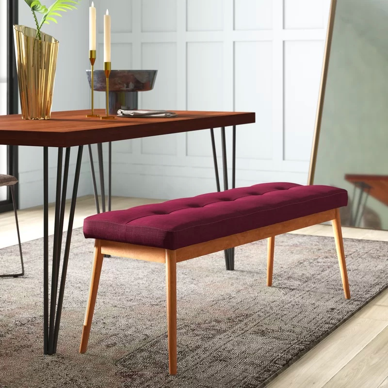 Button-Tufted-Dining-Bench-With-Skinny-Wood-Base-And-Burgundy-Cushion-Seat
