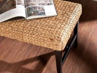 Coastal-Style-Water-Hyacinth-Woven-Dining-Bench-With-Black-Legs