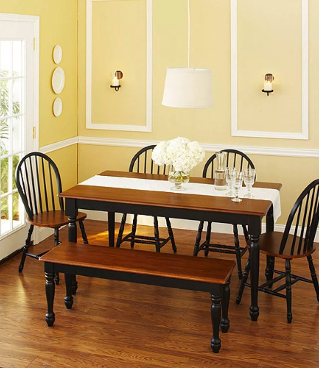 Country-Style-Dining-Bench-And-Table-Set-Black-Legs-Wood-Seat-Brown