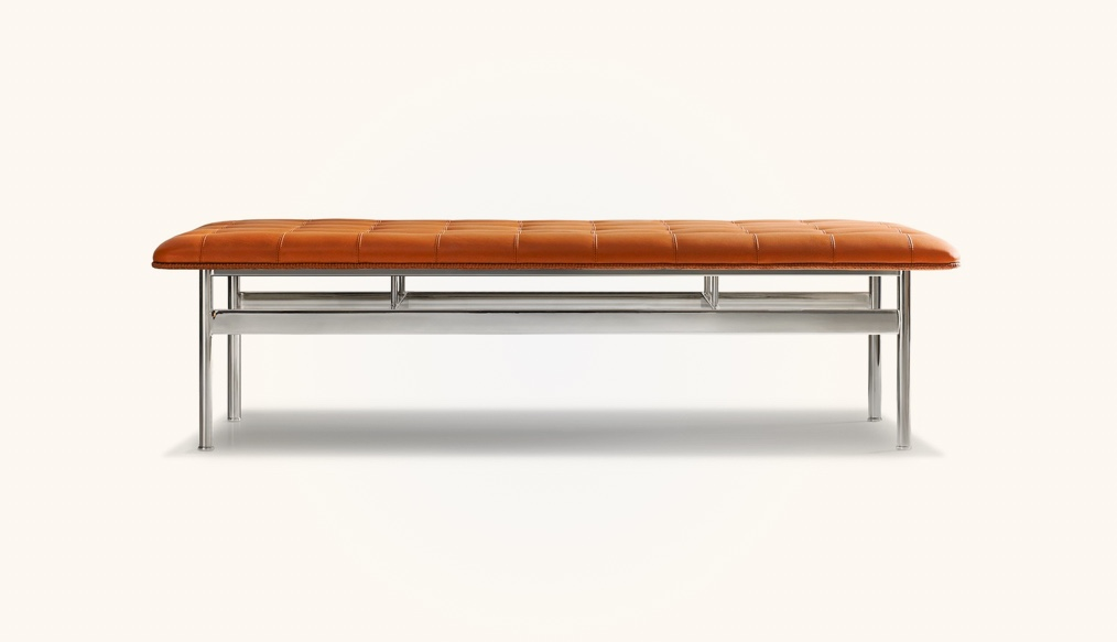 Dining-Bench-With-Stainless-Steel-Base-And-Tufted-Leather-Seat