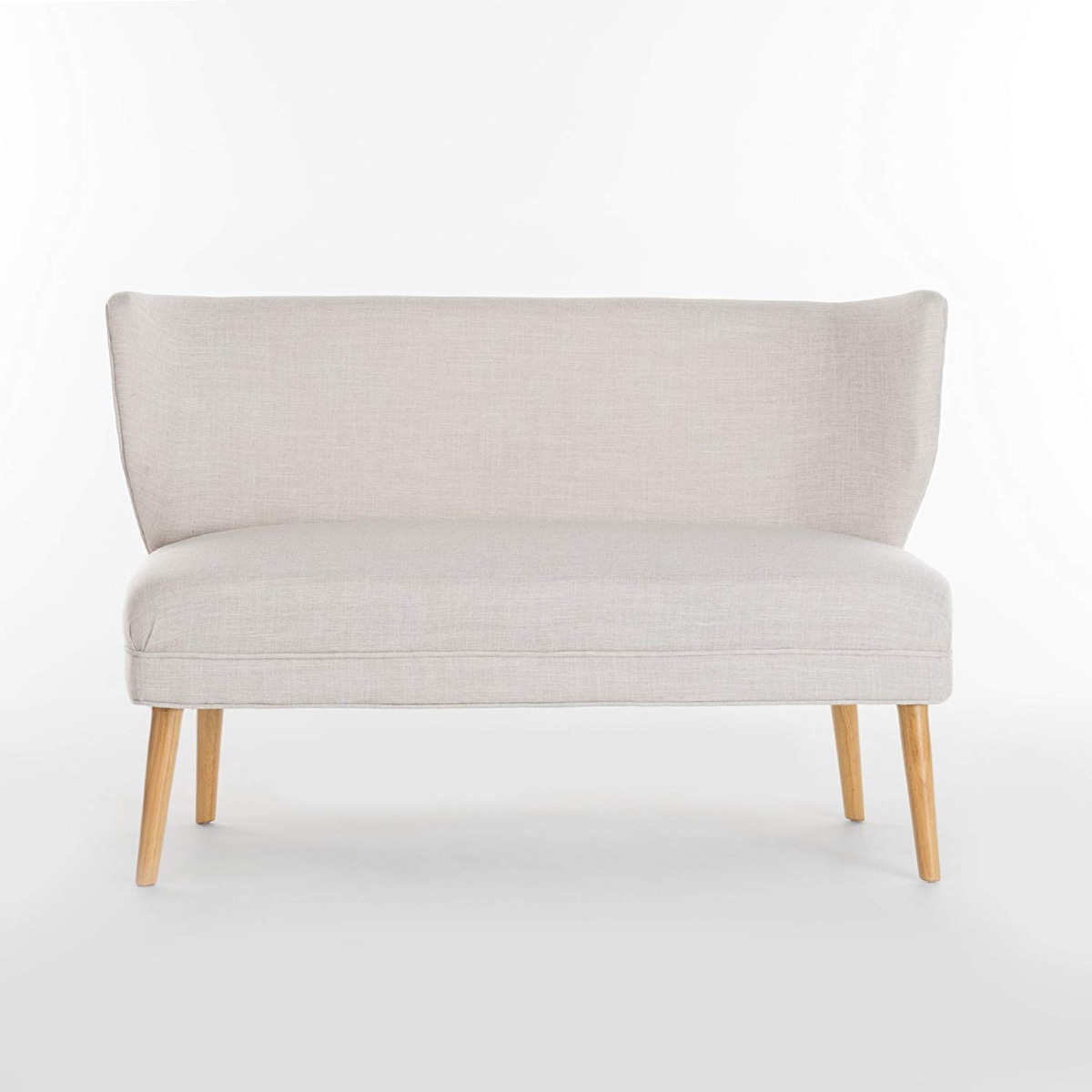 Dining-Settee-Bench-With-Back-Upholstered-Beige-Off-White-With-Skinny-Wood-Legs