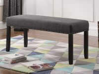 Grey-Dining-Bench-With-Nailhead-Trim-Black-Legs-Cheap-Affordable-Amazon