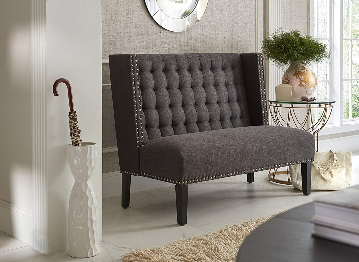 High-Backed-Upholstered-Dining-Bench-Dark-Charcoal-Grey-With-Silver-Nailhead-Trim-