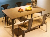 Industrial-Style-Dining-Bench-With-Back-Metal-Legs-Wood-Seat-Distressed-Rustic-Finish