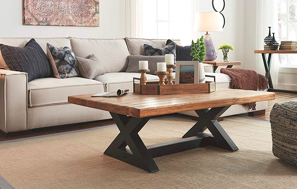 Large-Rustic-X-Coffee-Table-Black-Legs-Thick-Wood-Top