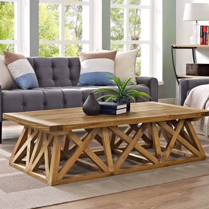 Long-Rustic-Coffee-Table-Pine-Wood-Patterned-Base-X-Brace