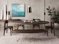 Modern-Curved-Dining-Bench-With-Gold-Metal-Legs-And-Dark-Brown-Stained-Seat