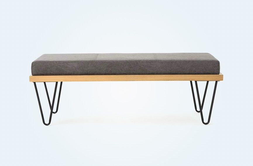 Modern-Dining-Bench-Hair-Pin-Legs-Grey-Upholstered-Seat-Cushion-Faux-Leather-Wood-Base-1