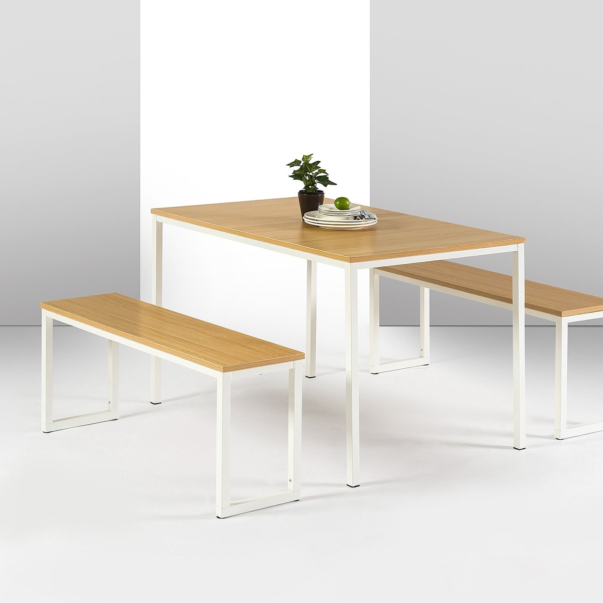 Modern-Minimalist-Dining-Bench-And-Table-Set-White-Metal-Legs-Wood-Seat