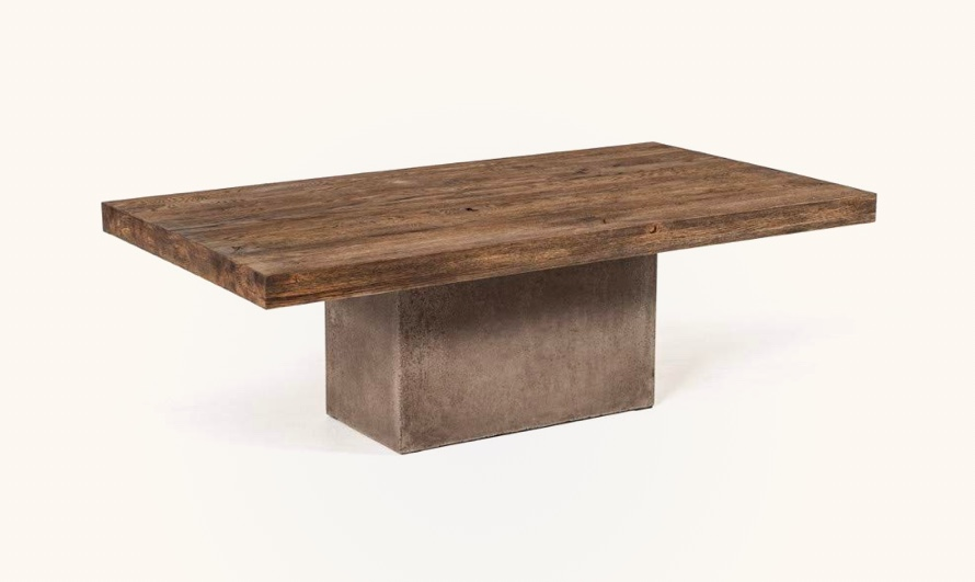 Modern-Rustic-Wood-And-Concrete-Coffee-Table-Rectangular-Block-Base-Pedestal