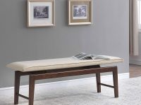 Modern-Upholstered-Dining-Bench-With-Dark-Brown-Wooden-Legs-And-Beige-Seat-Cushion