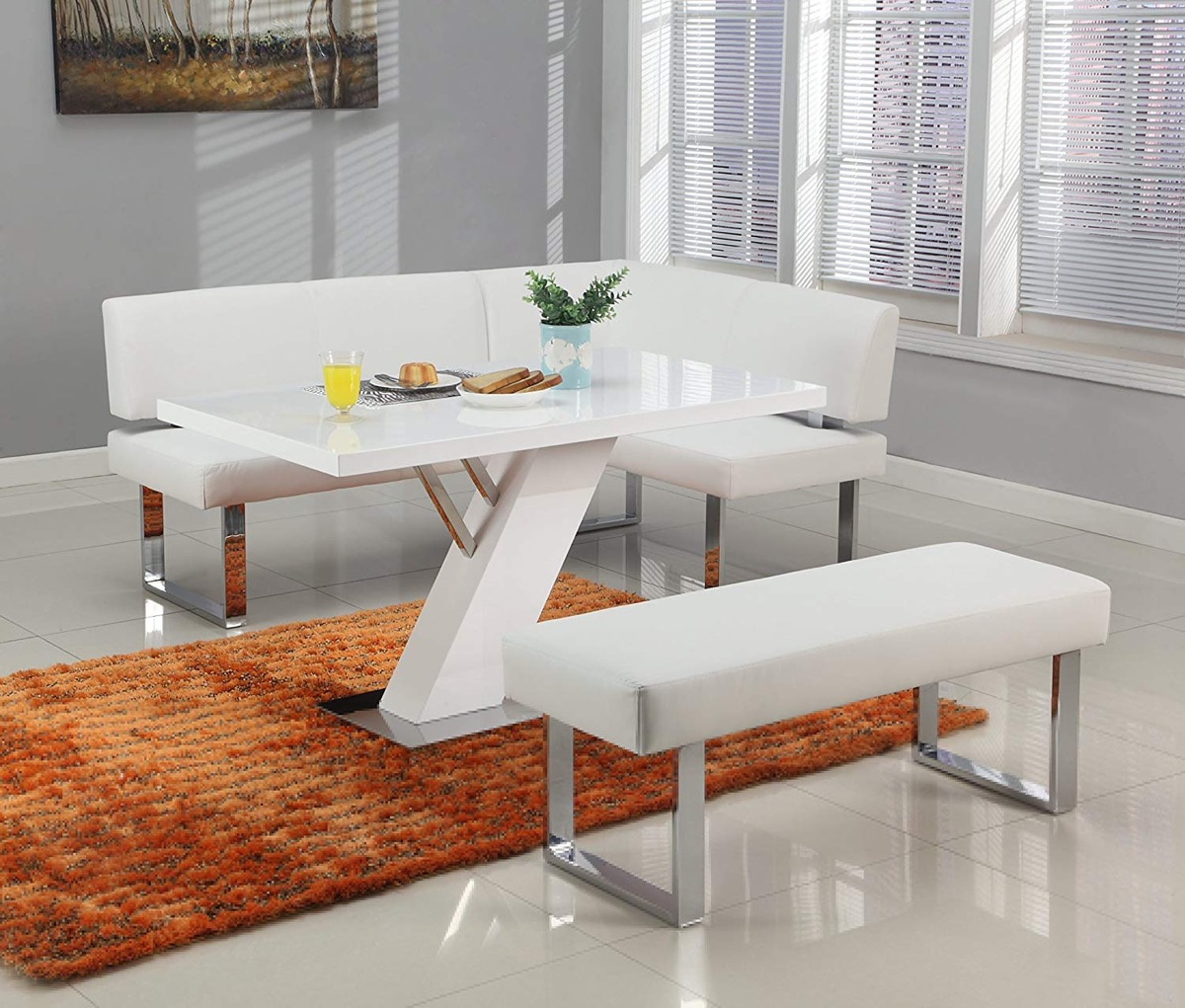 Modern-White-Corner-Dining-Bench-With-Chrome-Legs-Lather-Upholstered-Cushion