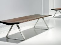 Modern-Wood-And-Stainless-Steel-Dining-Bench-Traingle-Legs-And-Dark-Brown-Wooden-Seat
