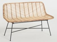 Natural-Wicker-Dining-Bench-With-Skinny-Black-Metal-Legs-Beach-House-Dining-Room-Seating-Ideas