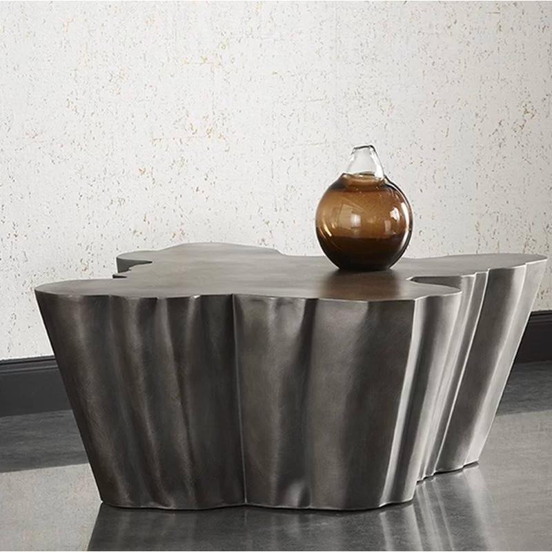 Premium-Rustic-Metal-Coffee-Table-Organic-Shape-Modern-Art-Chunky