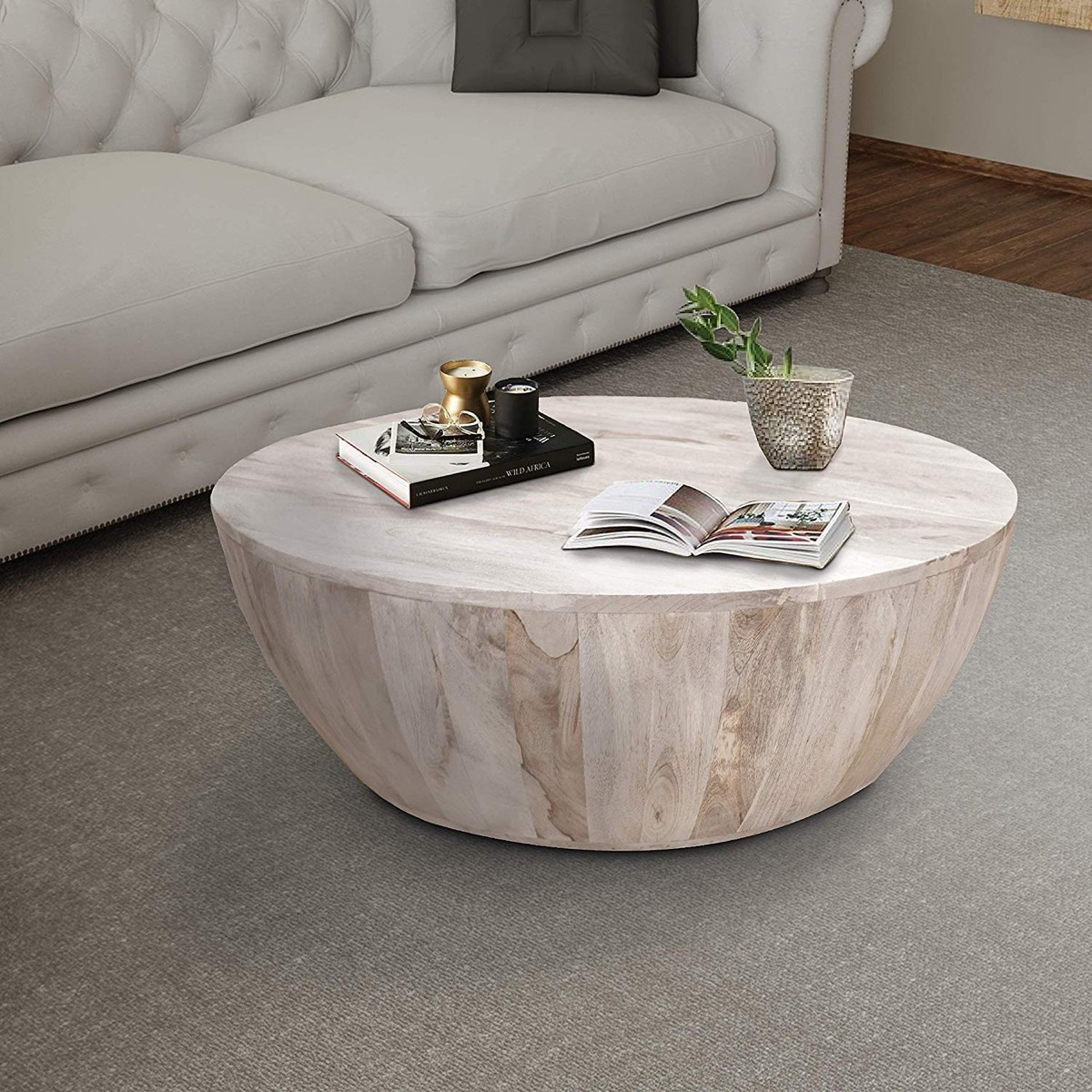 Round-Coffee-Table-Mago-Wood-Natural-Finish-Drum-Shaped