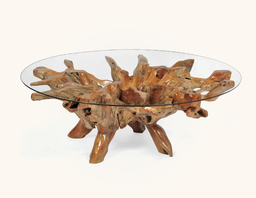 Round-Rustic-Glass-Coffee-Table-With-Driftwood-Base-Organic-Shape-Stump-Unique