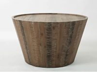 Round-Solid-Acacia-Wood-Coffee-Table-Distressed-Finish-Brown-Drum-Shaped