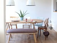Rounded-Rectangular-Dining-Bench-With-Cushion-Wood-Legs-Upholstered-Seat-Light-Grey