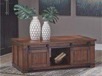 Rustic-Barn-Door-Coffee-Table-Dark-Brown-With-Storage-And-Sliding-Doors-On-Metal-Track