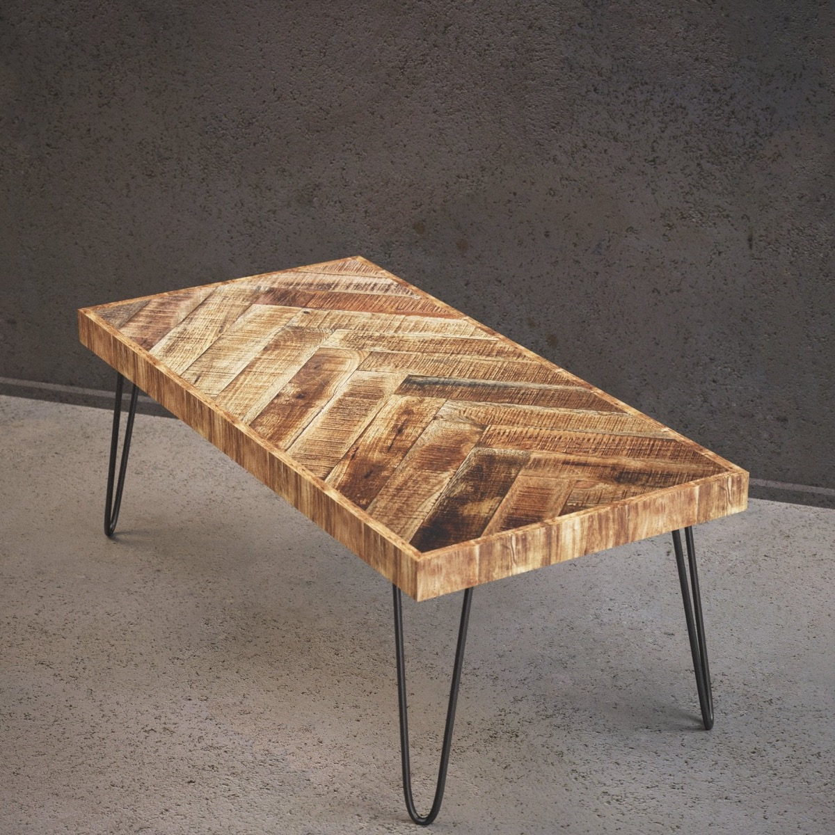 Rustic-Chevron-Patterned-Wooden-Coffee-Table-With-Black-Metal-Hair-Pin-Legs