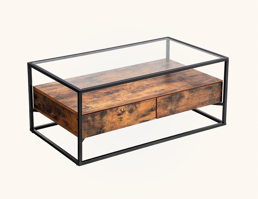 Rustic-Glass-Coffee-Table-With-Storage-Wood-Drawers-And-Metal-Legs