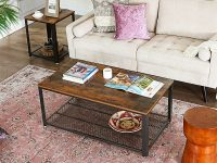 Rustic-Industrial-Coffee-Table-With-Wood-Top-And-Metal-Mesh-Shelf-Redtangular