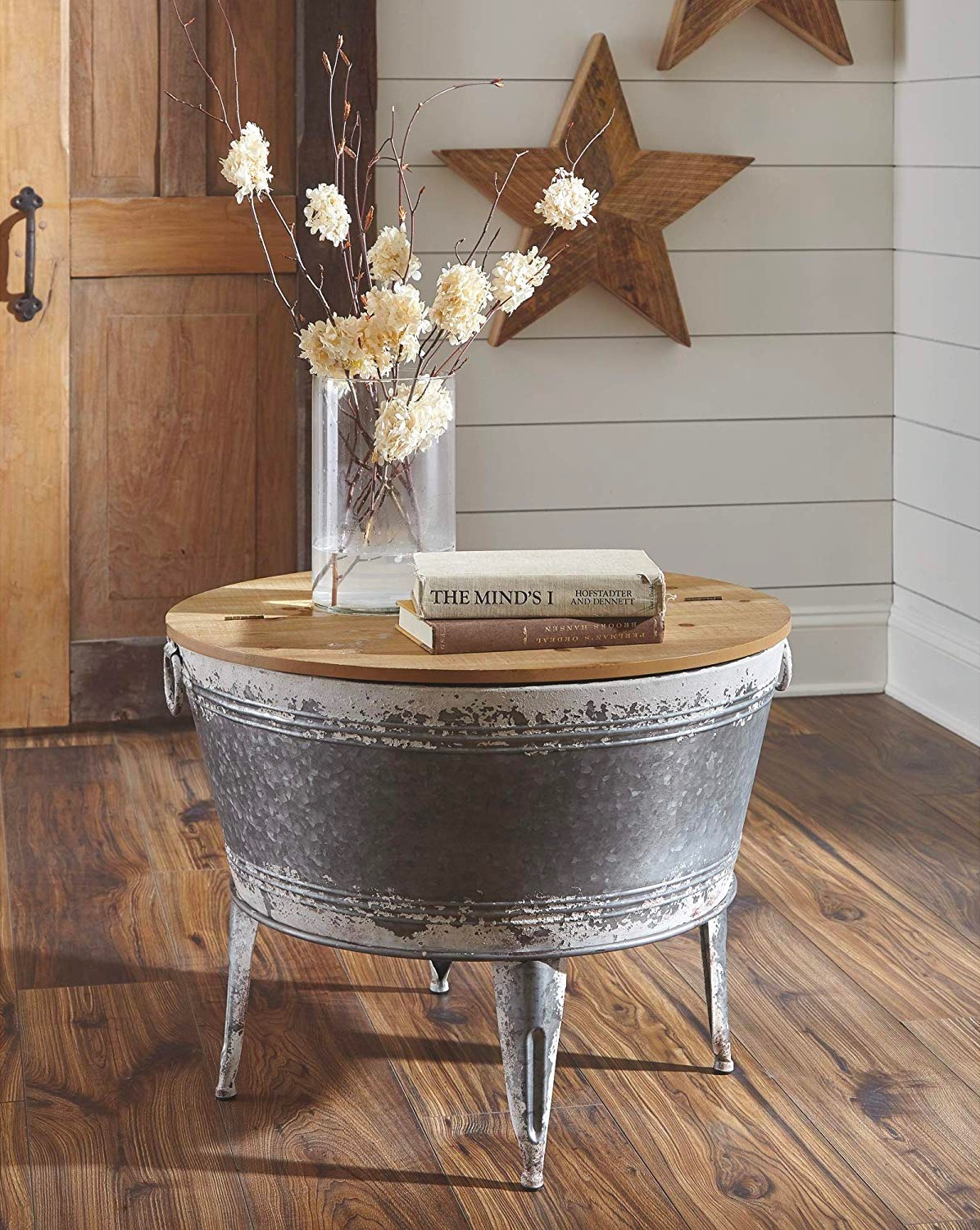 Rustic-Metal-Cauldron-Coffee-Table-With-4-Legs-Galvanized-Steel