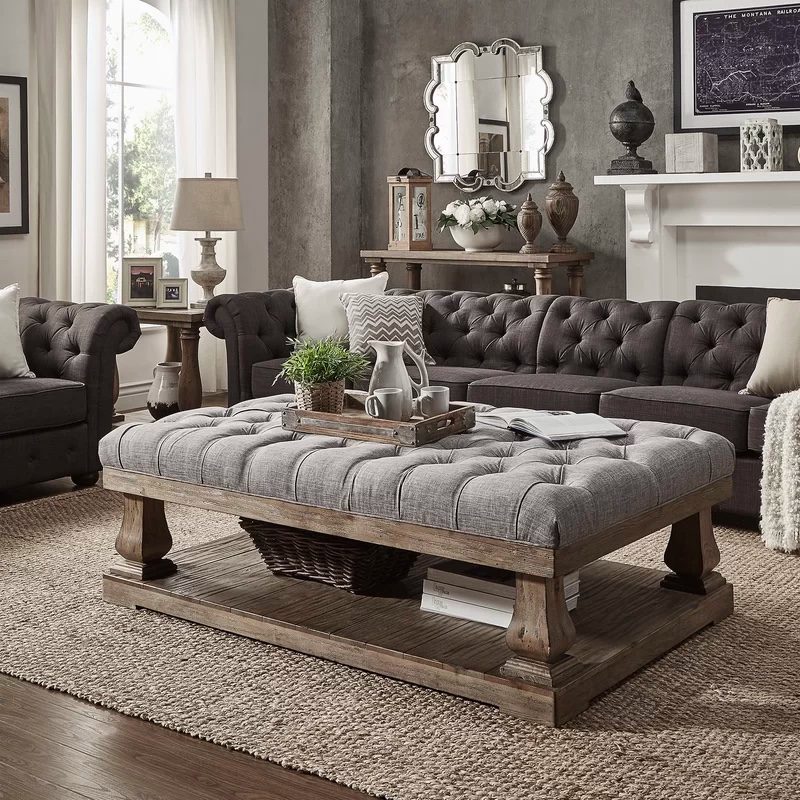 Rustic-Ottoman-Coffee-Table-Grey-Tufted-Top-Thick-Luxury